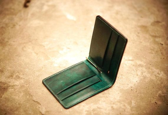 Money Clip  Mini Wallet  Aqua green by GMleathercraft on Etsy