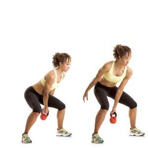 Kettle ball workout. 8 different moves, repeat the circuit three times.