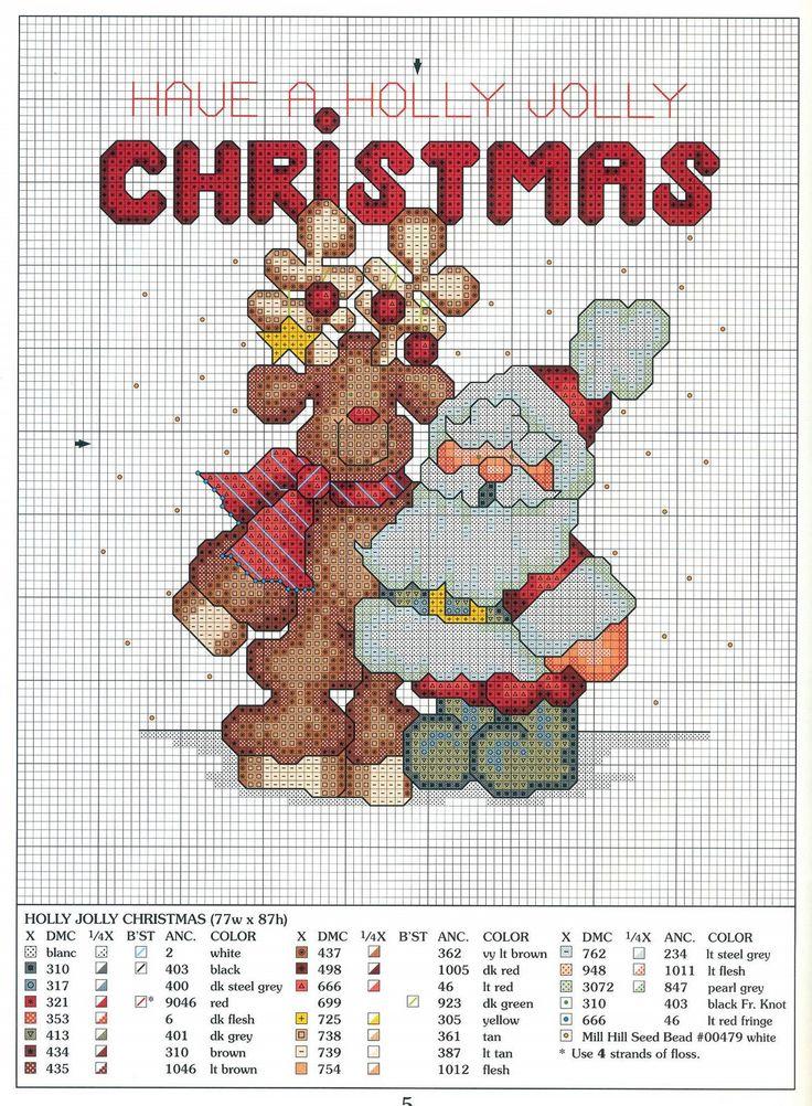 Cross stitch. Santa with reindeer.