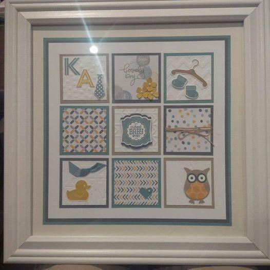 Stampin Up Something for Baby Moonlight DSP, Lost Lagoon, Hello Honey framed art by Gloria Kremer. Facebook: Girlfriend Originals