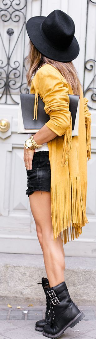Mustard Fringed Suede Jacket by Peeptoes: Mustard Fringed Suede Jacket by Peeptoes