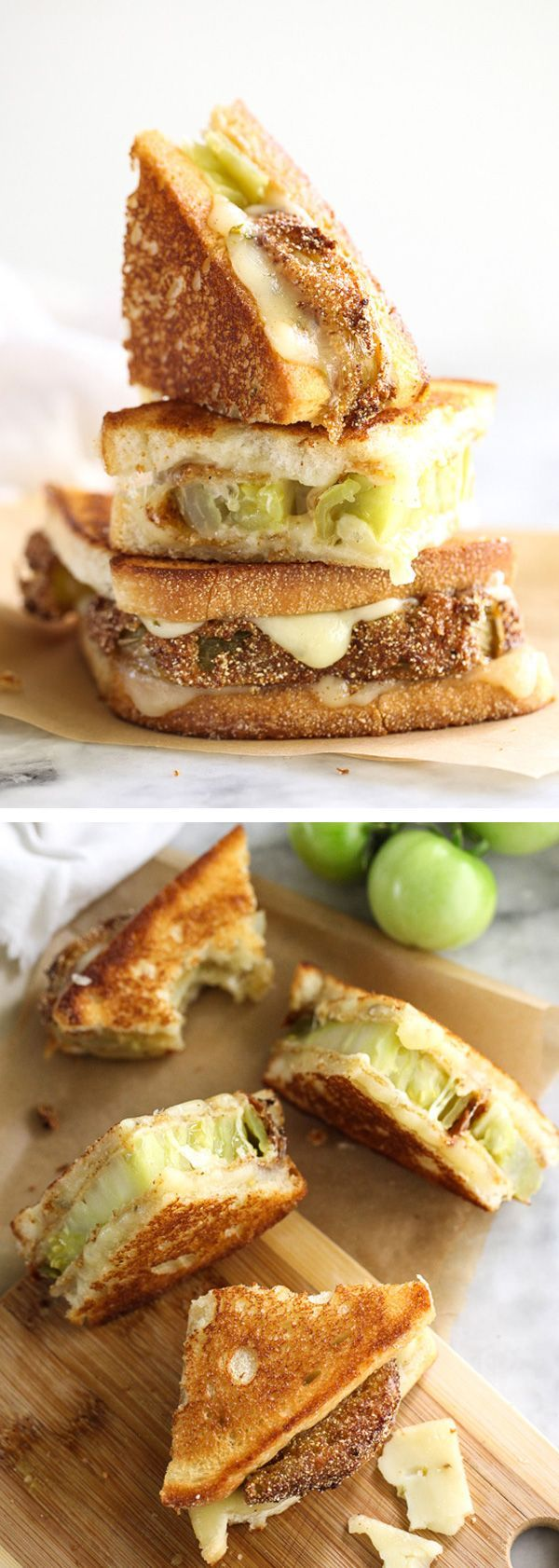 Fried Green Tomatoes Grilled Cheese Sandwich - Spiced up with gooey monterey jack cheese.