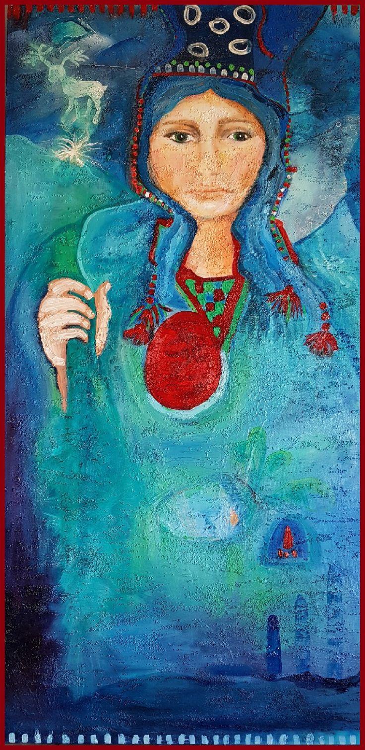 Oilpainting by Charlotte Wiktorsdotter  100x50 cm Samisk kvinna Sapmi