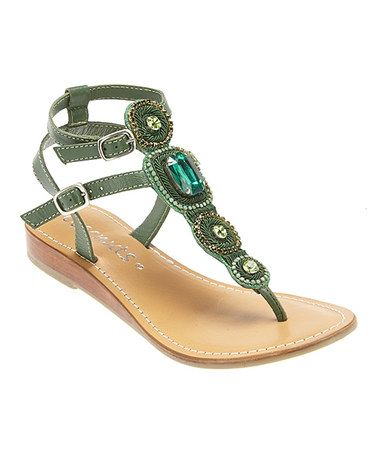 Look what I found on #zulily! Green Largo Leather Sandal #zulilyfinds