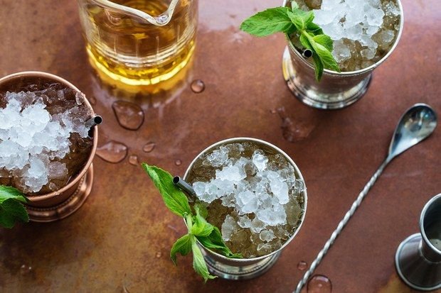 This Derby-ready julep doubles down on the mint flavor with a bright Mint Simple Syrup and fresh mint leaves. The julep cup is essential to the presentation. This recipe yields about 1 1/4 cups mint simple syrup, enough for 30 cocktails. You can also use it to make a refreshing non-alcoholic drink—add a few tablespoons to club soda and serve over ice.