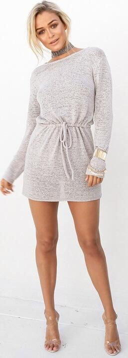 Casual Backless Drawstring Waist Knit Sweater Short Dress
