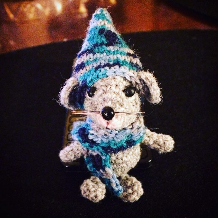 Crocheted mouse.