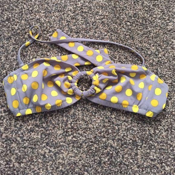 J.Crew grey & yellow bandeau bikini top J. Crew grey with yellow polka dot bandeau bikini top. Comes with detachable strap. Size medium. no trades. J. Crew Swim Bikinis