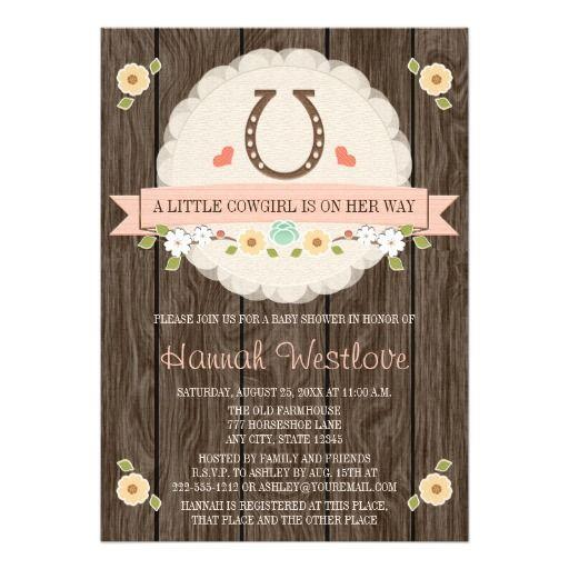 Blush Pink Horseshoe Western Cowgirl Baby Shower Card