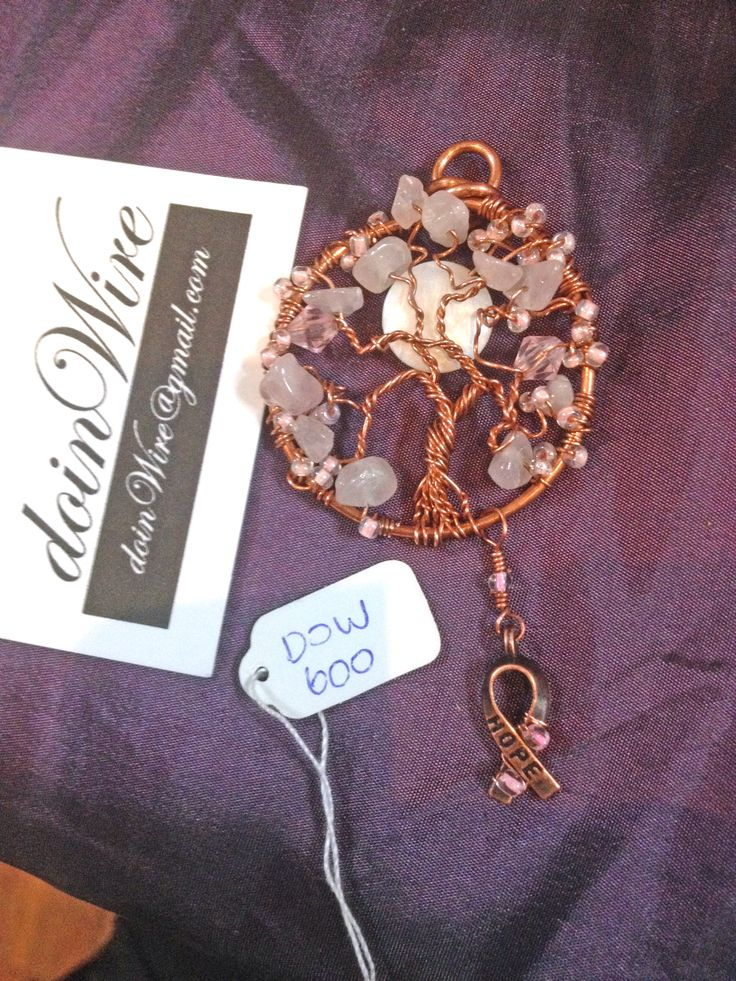 DOW600 doinWire handcrafted copper wire Awareness Tree of Life, light pink gem…