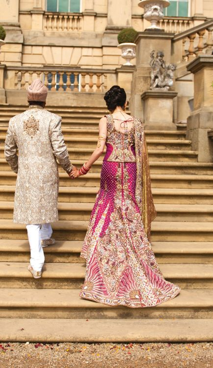 Pink & Gold Lengha & Sherwani Asian Indian Bridal Fashion