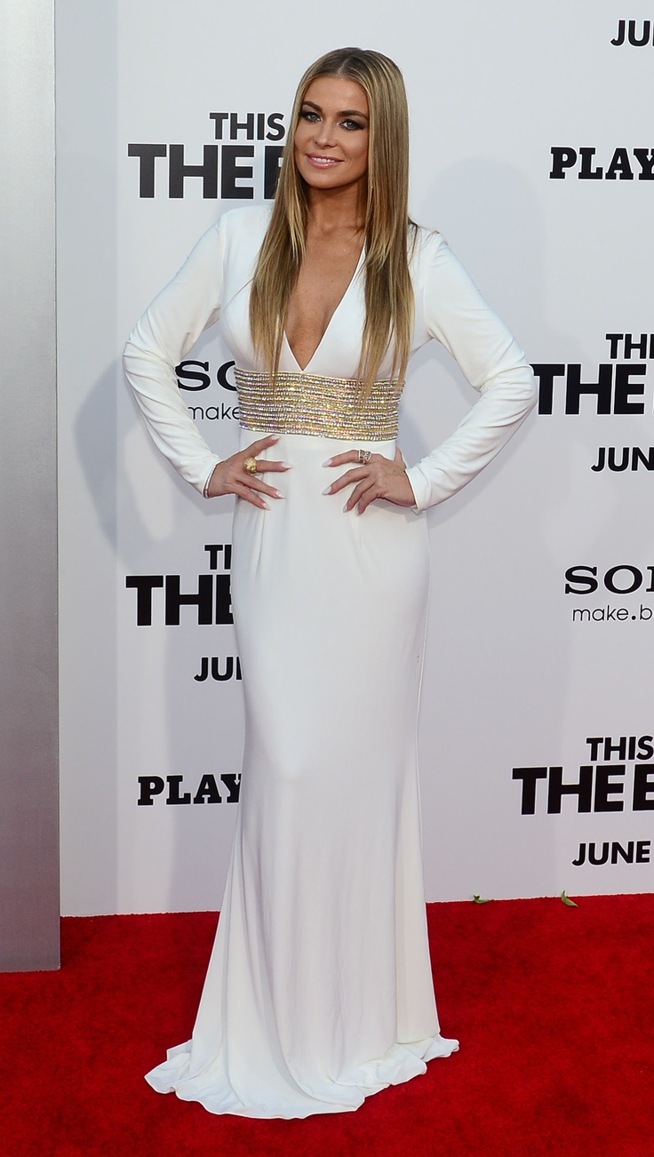 """Carmen Electra wore style 1580 on the red carpet of the """"This Is the End"""" movie premiere."""