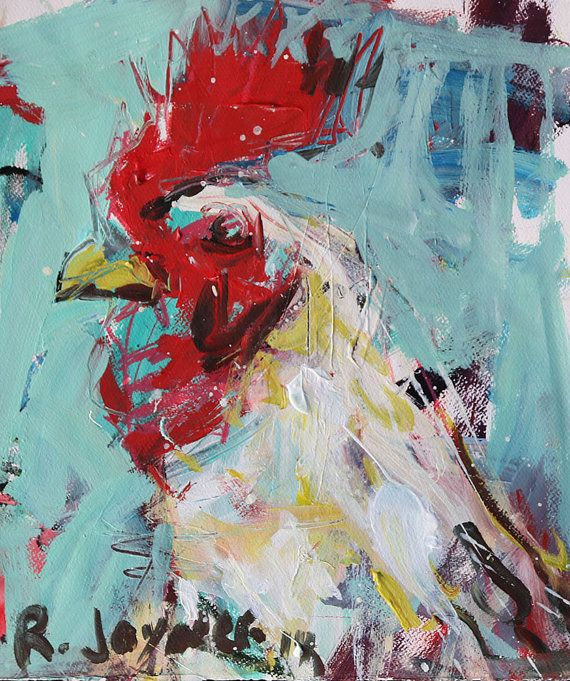 Abstract Rooster Painting by painthog on Etsy, $275.00