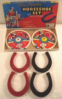 Roy Rogers Cowboy 1950s Ohio Art Horseshoe Set Toy~~