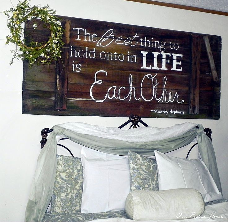 Nice Bedroom Idea..made out of a barn door, but think old pallets would work also.