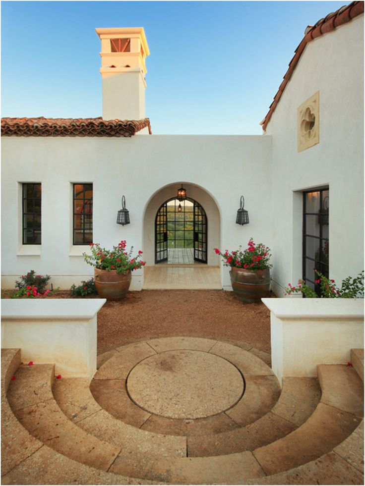Exterior spanish style home clay terracotta tile roof for Spanish style exterior