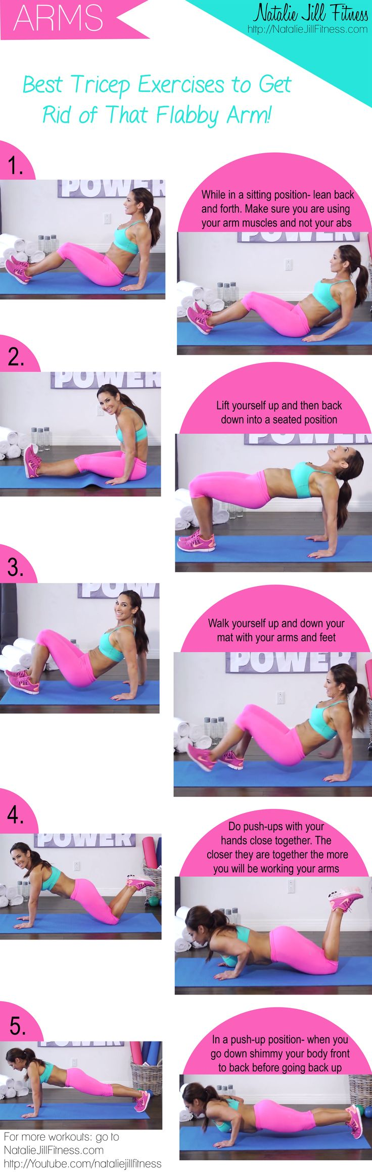 """BEST exercises to get rid of the """"flappy arm!"""" Tricep workout! Click the image to view the video that goes with the workout!"""