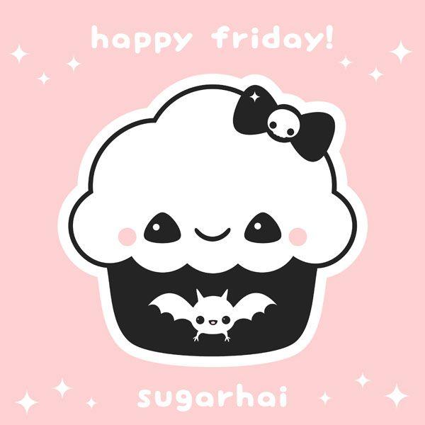 Sugar Skull Iphone Wallpaper Happy Friday Cupcake From Sugarhai In 2019 Kawaii