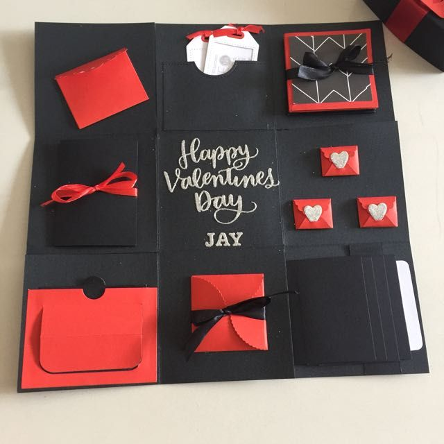 Valentine Explosion Box In Black, Red And Silver on Carousell