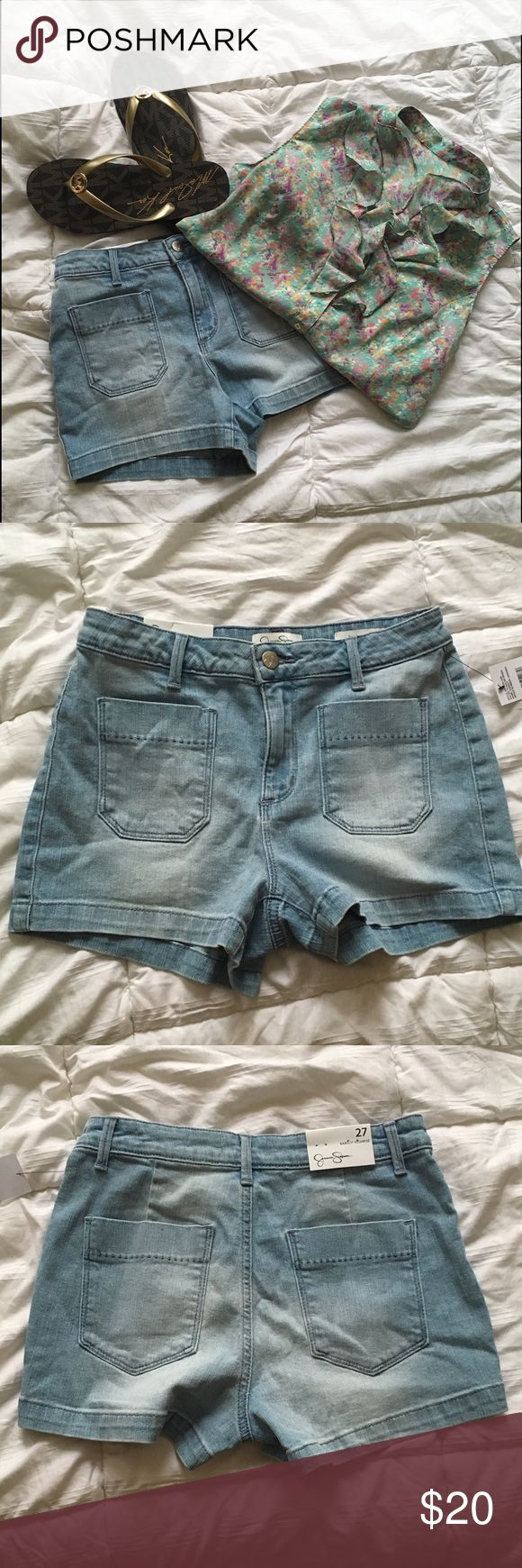 Jessica Simpson Jeans Jessica Simpson Jeanswear. Light blue. Never worn. Bardot highrise. 98% Cotton 2% Spandex. 2 inch inseam. Jessica Simpson Shorts