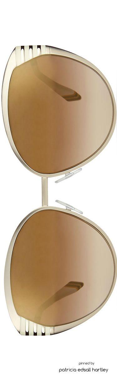 Fendi  Striped-Temple Metal Sunglasses, Silver