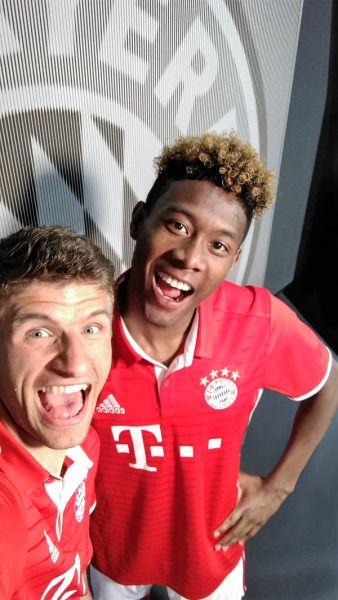Thomas Müller and David Alaba launching FC Bayern's new kit
