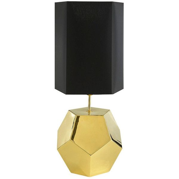 marioni penta gold ceramic table lamp gold 925 liked on polyvore featuring gold lamp shadesgold lampsblack - Lamp Shades For Table Lamps