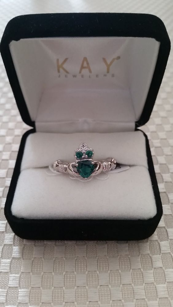 Spectacular Green Emerald Claddagh Ring with Accents Sterling Silver Kay Jewelers