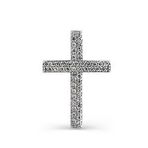 Крест из белого золота с белыми бриллиантами