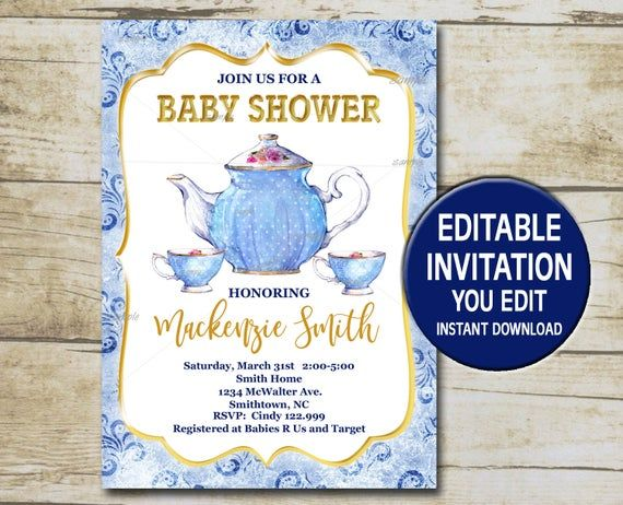 Baby Shower Tea Party Invitation Template Editable You Edit Blue Printable Baby Shower Tea Invite Instant Download P90 Tea Party Invitations Tea Party Baby Shower Baby Shower Tea