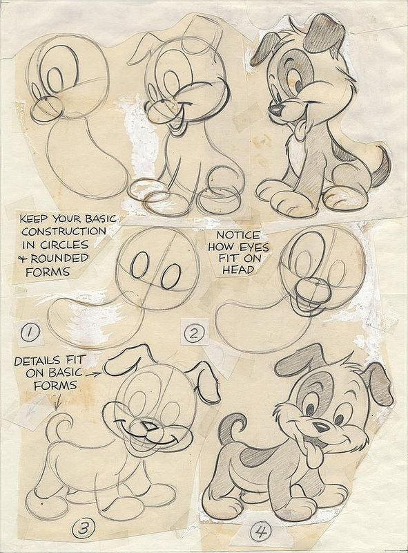 Preston Blair CARTOON ANIMATION Original Drawings CUTE PUP for Walter Foster Art Book, 1994 | by luca chiarotti