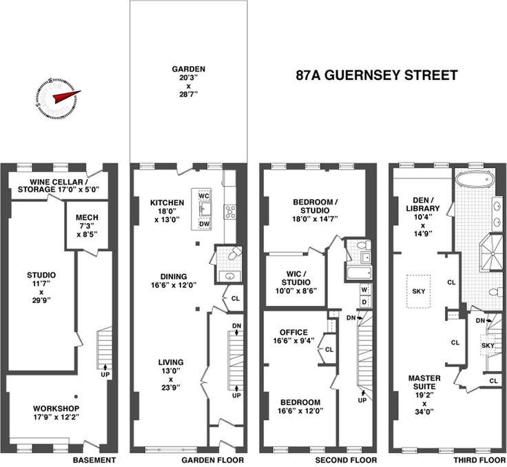 1000 images about brownstone floorplans on pinterest for Brownstone building plans