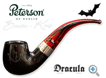 When the Dracula 221 pipe by Peterson was released in 2011 they sold out in the United Kingdom within hours. You really can see why. Sitting beautifully between the flawless black ebony bowl and the striking red and black marbled fishtail mouthpiece, there is a perfectly proportioned nickel band with the Dracula name etched on to it. Peterson has entered the dark side but the Dracula pipe is a handsome, well-balanced piece of art.