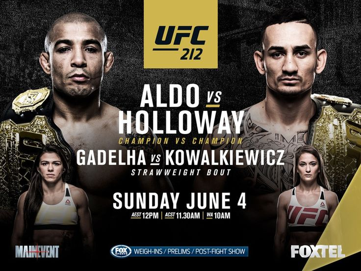 http://realcombatmedia.com/2017/06/ufc-212-weigh-video/ UFC 212 WEIGH-IN VIDEO MAIN CARD (Pay-per-view, 10 p.m. ET) Champ Jose Aldo (145) vs. interim Max Holloway (145) – featherweight title unification bout Claudia Gadelha (116) vs. Karolina Kowalkiewicz (115) Vitor Belfort (185) vs. Nate Marquardt (186) Paulo Borrachinha (186) vs. Oluwale Bamgbose (184) Yancy Medeiros (171) vs. Erick Silva (171) PRELIMINARY CARD …
