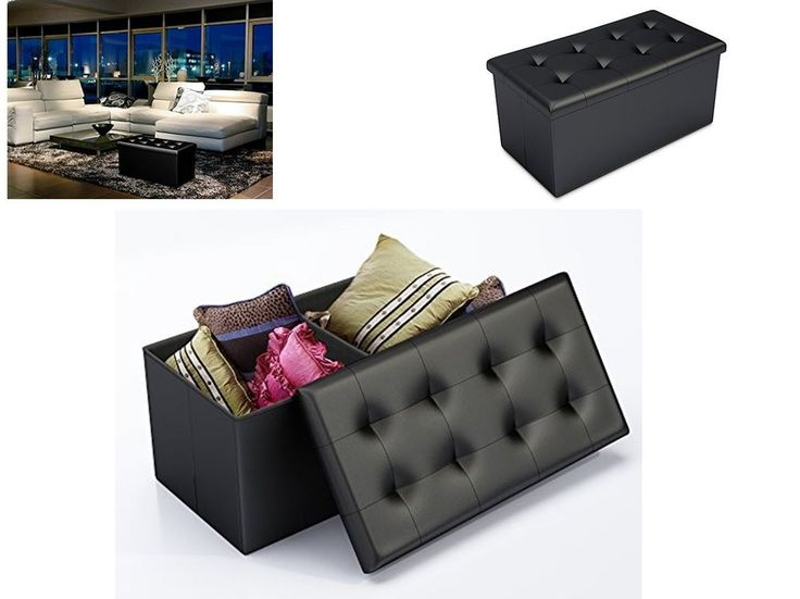 Faux Leather Storage Bench Ottoman Footstool Indoor Benches Living Room Ottomans #FauxLeatherStorageBench