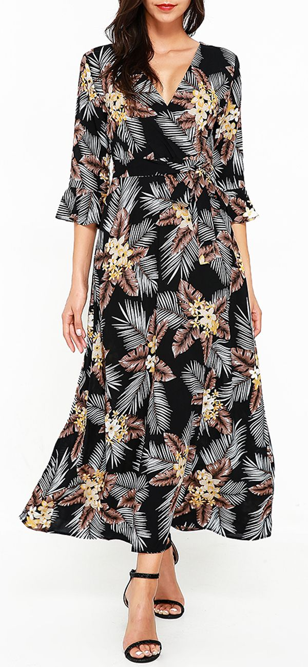 US$ 28.68 Bohemian Floral Print Cross Wrap V-neck 3/4 Sleeve Women Maxi Dresses