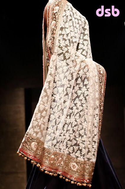 """""""... traditionally done only on pure, un-dyed white shazaada cotton or Dhaka  ki mulmul ...  ...six basic stitches and over thirty-five other traditional stitches  ... The six basic stitches are: Tepchi, (back Running stitch), Bakhiya (double back stitch), Hool (Eyelet), Zanzeera (chain stitch), Rahet (stem stitch) and Banarsi. Other stitches are phanda, chana patti, ghaas patti, ulti jaali, bijli, jaali, kharau, keel, kangan, bulbul and hath kadi"""""""