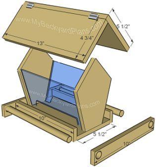 "BirdfeederHow to build a bird feeder (part 1) (part 2) Material needed: 5 1/2"" x 6' cedar (cedar fence board) 1 1-4"" finish nails 3/8"" dowel 2 hinges:"
