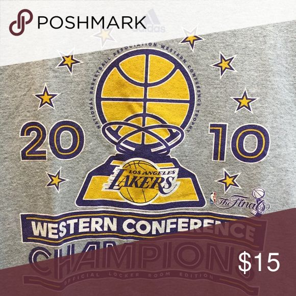 2010 Lakers T-shirt 2010 grey Lakers t-shirt.  90% cotton, 10% polyester.  Cheer your favorite team on by wearing this t-shirt! adidas Shirts Tees - Short Sleeve
