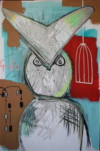 "Gufo This owl called ""Our"" is a really big bird who has escaped from his cage and in front of him is a map of house-dance steps. You can see in his eyes that he means business.I love birds, especially owls.Acrylic,wet ink & oil crayon measures 100x145"