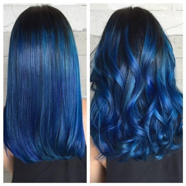 Dark roots w/blue