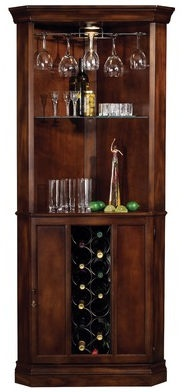 Corner bars make use of unused corners and provide a considerable amount of storage space.