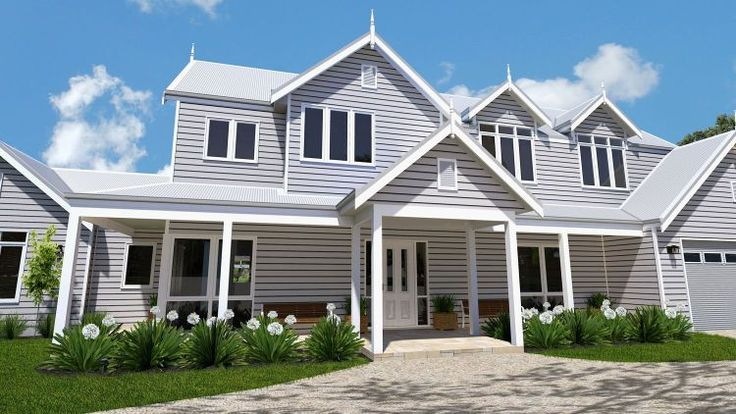 Dunns House Picture of Traditional Hamptons Gables and two storey design sloping site design level site design floor plans all 5 bedroom