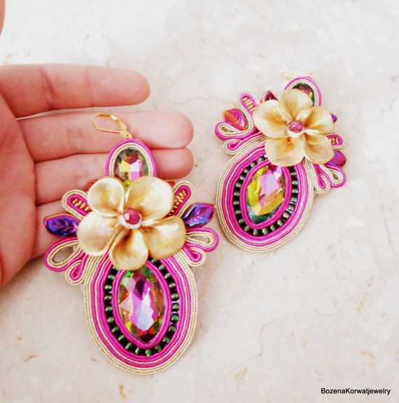 Soutache earrings by BozenaKorwatJewelry on Etsy