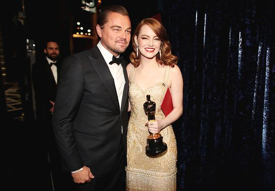 Leonardo DiCaprio and Emma Stone, winner of Best Actress for 'La La Land' pose backstage during the 89th Annual Academy Awards at Hollywood & Highland Center on February 26, 2017 in Hollywood, California.