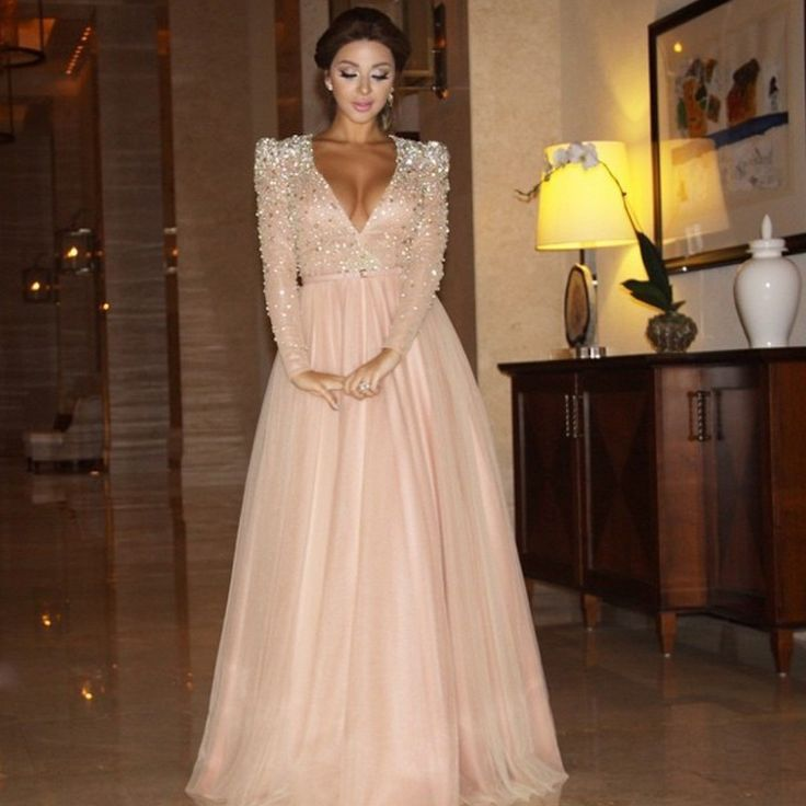 Find More Prom Dresses Information about robe de soiree A line V neck Long Sleeve Beaded Crystal vestido de festa longo Evening Pageant Dress Pink African Prom Dresses,High Quality dresses pageant,China dress to the left Suppliers, Cheap dress ring from Wedding Girls Dress on Aliexpress.com
