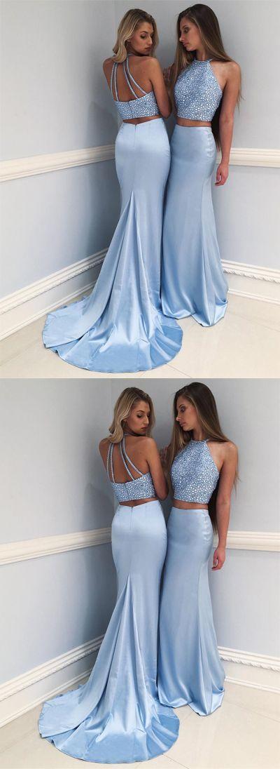 Stylish Light Blue High Neck Beaded Long Prom Dress,Two-Piece Mermaid Evening Dress,351