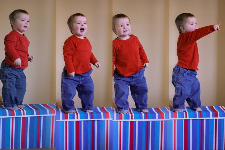 Stripes/Box/Storage/Toy Box/ Cheeky Toddler boy who <3's to climb.