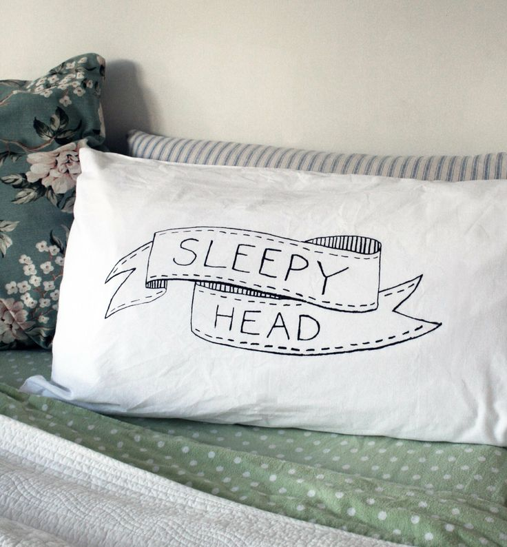 This cute sleepyhead pillowcase is hand screen- printed on quality 100% cotton. They are a standard size (50 x 78cm) and comes as a single pillowcase. You can choose from charcoal, pink or green. Great for a child or any any sleepyhead!