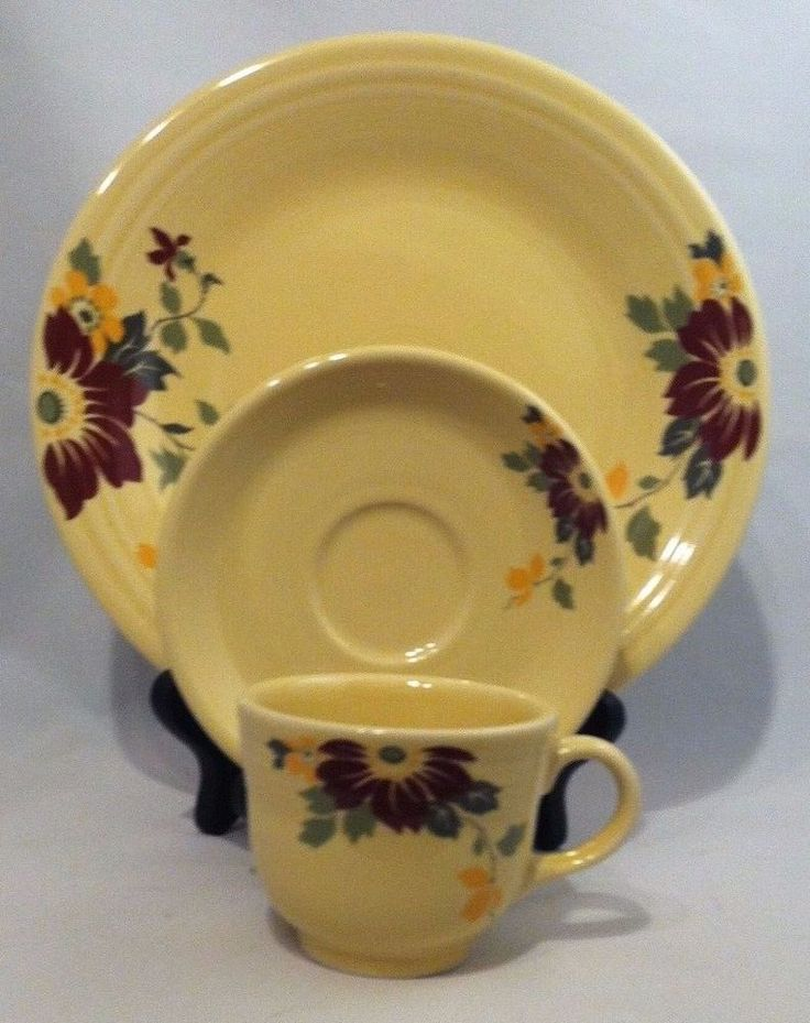 Fiesta Claret Clematis HLCCA Conference Exclusive 3 Piece Set Fiestaware NEW : novelty dinner plates - pezcame.com